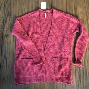 Free People red oversized cardigan